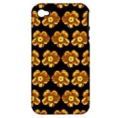 Yellow Brown Flower Pattern On Brown Apple iPhone 4/4S Hardshell Case (PC+Silicone) by Costasonlineshop
