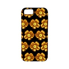 Yellow Brown Flower Pattern On Brown Apple Iphone 5 Classic Hardshell Case (pc+silicone) by Costasonlineshop