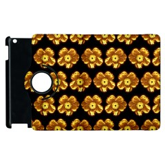 Yellow Brown Flower Pattern On Brown Apple Ipad 2 Flip 360 Case by Costasonlineshop