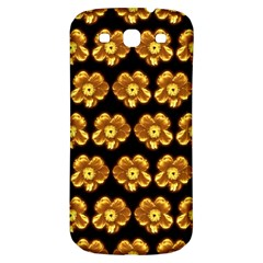Yellow Brown Flower Pattern On Brown Samsung Galaxy S3 S Iii Classic Hardshell Back Case by Costasonlineshop