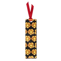 Yellow Brown Flower Pattern On Brown Small Book Marks by Costasonlineshop