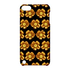Yellow Brown Flower Pattern On Brown Apple Ipod Touch 5 Hardshell Case With Stand by Costasonlineshop
