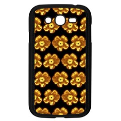 Yellow Brown Flower Pattern On Brown Samsung Galaxy Grand Duos I9082 Case (black)