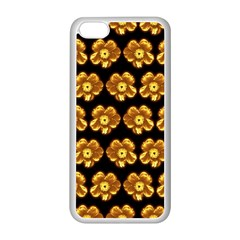Yellow Brown Flower Pattern On Brown Apple Iphone 5c Seamless Case (white)