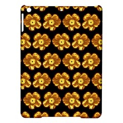 Yellow Brown Flower Pattern On Brown Ipad Air Hardshell Cases