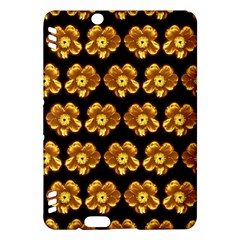 Yellow Brown Flower Pattern On Brown Kindle Fire Hdx Hardshell Case