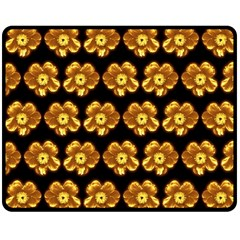 Yellow Brown Flower Pattern On Brown Double Sided Fleece Blanket (medium)  by Costasonlineshop