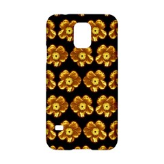 Yellow Brown Flower Pattern On Brown Samsung Galaxy S5 Hardshell Case