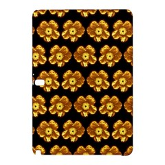Yellow Brown Flower Pattern On Brown Samsung Galaxy Tab Pro 10 1 Hardshell Case by Costasonlineshop