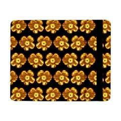 Yellow Brown Flower Pattern On Brown Samsung Galaxy Tab Pro 8 4  Flip Case by Costasonlineshop