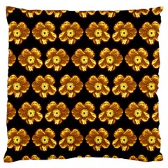 Yellow Brown Flower Pattern On Brown Large Flano Cushion Case (one Side) by Costasonlineshop
