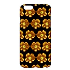 Yellow Brown Flower Pattern On Brown Apple Iphone 6 Plus/6s Plus Hardshell Case by Costasonlineshop