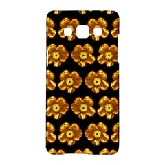 Yellow Brown Flower Pattern On Brown Samsung Galaxy A5 Hardshell Case  by Costasonlineshop