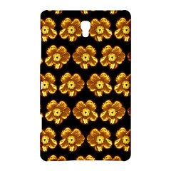 Yellow Brown Flower Pattern On Brown Samsung Galaxy Tab S (8 4 ) Hardshell Case