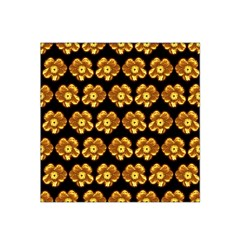 Yellow Brown Flower Pattern On Brown Satin Bandana Scarf by Costasonlineshop