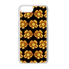 Yellow Brown Flower Pattern On Brown Apple iPhone 7 Plus White Seamless Case by Costasonlineshop