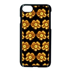Yellow Brown Flower Pattern On Brown Apple Iphone 7 Seamless Case (black) by Costasonlineshop