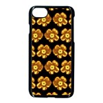 Yellow Brown Flower Pattern On Brown Apple iPhone 7 Seamless Case (Black) Front