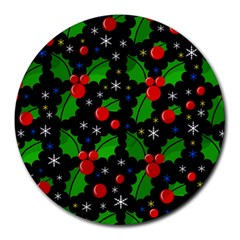 Xmas Magical Pattern Round Mousepads by Valentinaart