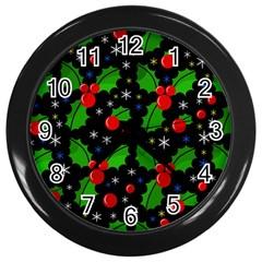 Xmas Magical Pattern Wall Clocks (black) by Valentinaart