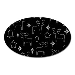 Black Xmas Pattern Oval Magnet by Valentinaart