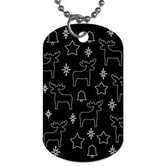 Black Xmas Pattern Dog Tag (two Sides) by Valentinaart