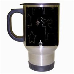 Black Xmas Pattern Travel Mug (silver Gray) by Valentinaart