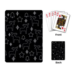 Black Xmas Pattern Playing Card by Valentinaart