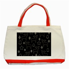 Black Xmas Pattern Classic Tote Bag (red) by Valentinaart