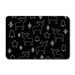 Black Xmas Pattern Small Doormat  by Valentinaart