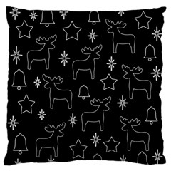Black Xmas Pattern Large Flano Cushion Case (one Side) by Valentinaart