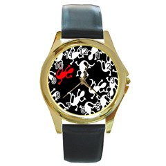 Red Lizard Round Gold Metal Watch by Valentinaart