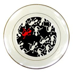 Red Lizard Porcelain Plates by Valentinaart