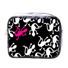 Magenta Lizard Mini Toiletries Bags by Valentinaart