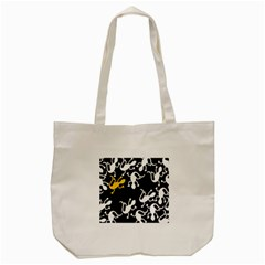 Yellow Lizard Pattern Tote Bag (cream) by Valentinaart