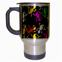 Colorful Lizards Pattern Travel Mug (silver Gray) by Valentinaart