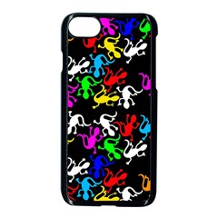 Colorful Lizards Pattern Apple Iphone 7 Seamless Case (black)