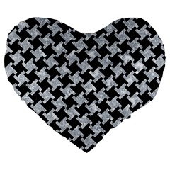 Houndstooth2 Black Marble & Gray Marble Large 19  Premium Flano Heart Shape Cushion by trendistuff