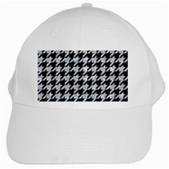 Houndstooth1 Black Marble & Gray Marble White Cap by trendistuff