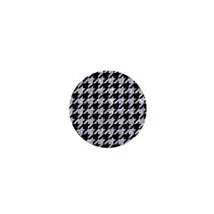 Houndstooth1 Black Marble & Gray Marble 1  Mini Button by trendistuff
