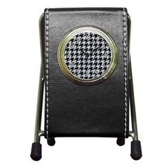 Houndstooth1 Black Marble & Gray Marble Pen Holder Desk Clock by trendistuff