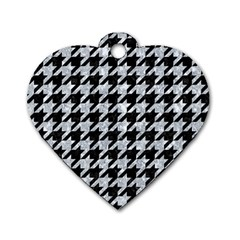 Houndstooth1 Black Marble & Gray Marble Dog Tag Heart (one Side) by trendistuff
