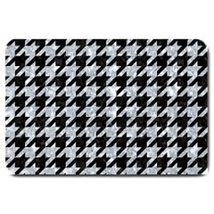 Houndstooth1 Black Marble & Gray Marble Large Doormat by trendistuff