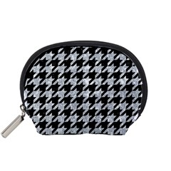 Houndstooth1 Black Marble & Gray Marble Accessory Pouch (small) by trendistuff