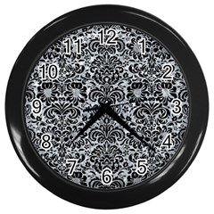 Damask2 Black Marble & Gray Marble (r) Wall Clock (black) by trendistuff