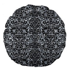 Damask2 Black Marble & Gray Marble (r) Large 18  Premium Flano Round Cushion  by trendistuff