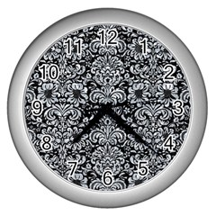 Damask2 Black Marble & Gray Marble Wall Clock (silver) by trendistuff