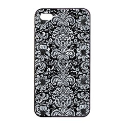 Damask2 Black Marble & Gray Marble Apple Iphone 4/4s Seamless Case (black) by trendistuff
