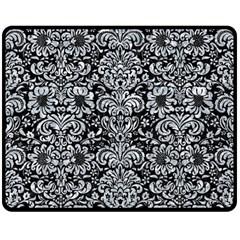 Damask2 Black Marble & Gray Marble Double Sided Fleece Blanket (medium) by trendistuff