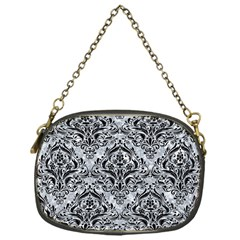 Damask1 Black Marble & Gray Marble (r) Chain Purse (one Side) by trendistuff